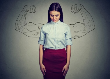 powerful girl reality vs ambition wishful thinking concept. Sad woman looking down